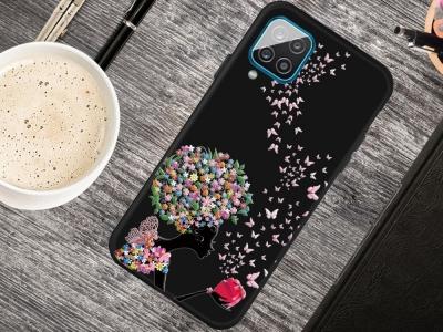 Силиконов калъф Matte за Samsung Galaxy A12, Момиче и цветя