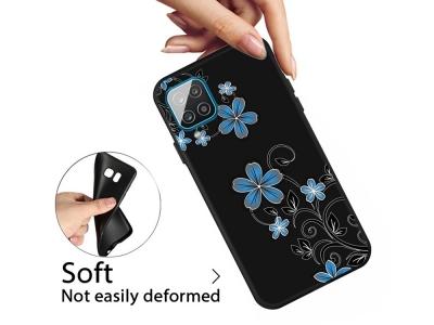 Силиконов калъф Matte за Samsung Galaxy A12, Сини цветя