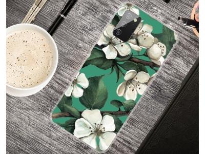 Силиконов калъф за Samsung Galaxy A02s, Бели цветя