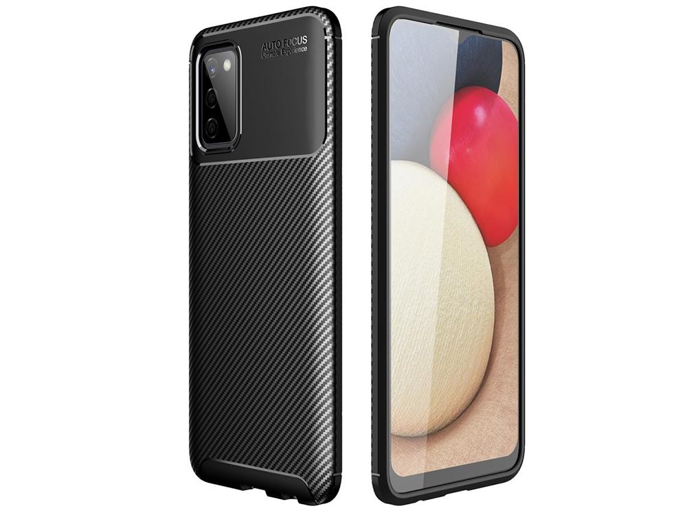 Силиконов Калъф Beetle Carbon за Samsung Galaxy A02s, Черен