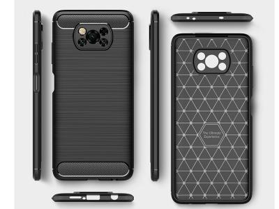 Силиконов Калъф Carbon Fibre за Xiaomi Poco X3 NFC/Poco X3, Черен