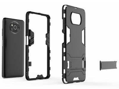 Удароустойчив Калъф с Поставка за Xiaomi Poco X3 NFC/Poco X3, Черен