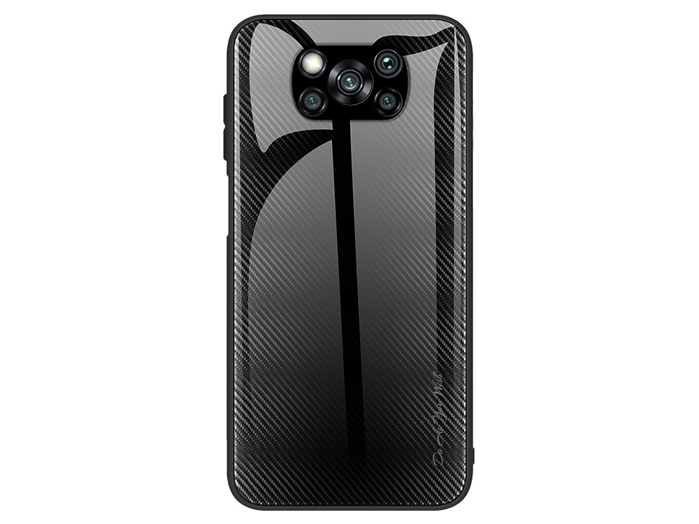 Калъф Гръб Glass за Xiaomi Poco X3/Poco X3 NFC, Черен