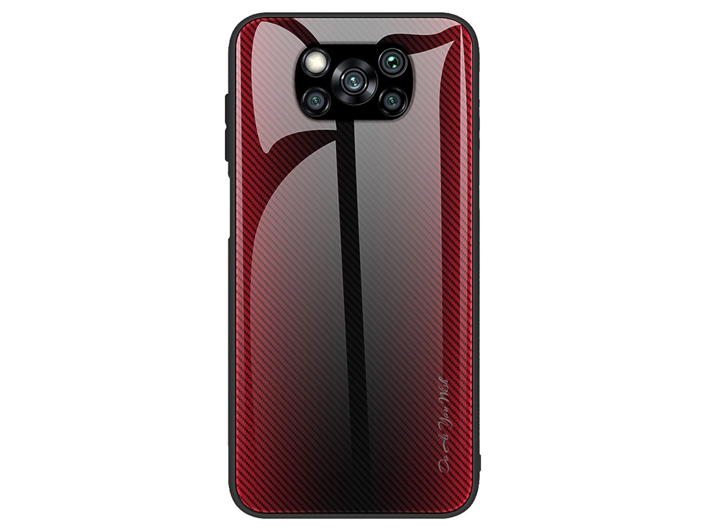 Калъф Гръб Glass за  Xiaomi Poco X3/Poco X3 NFC, Червен