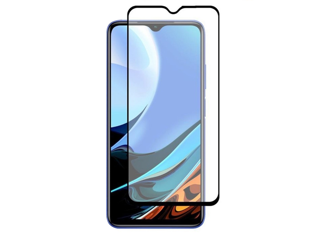 Стъклен Протектор Full Glue 5D за Xiaomi Redmi 9T, Черен