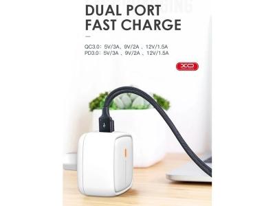 Зарядно 220V XO L60 2USB -  QC 3.0/ PD USB-C, Бял