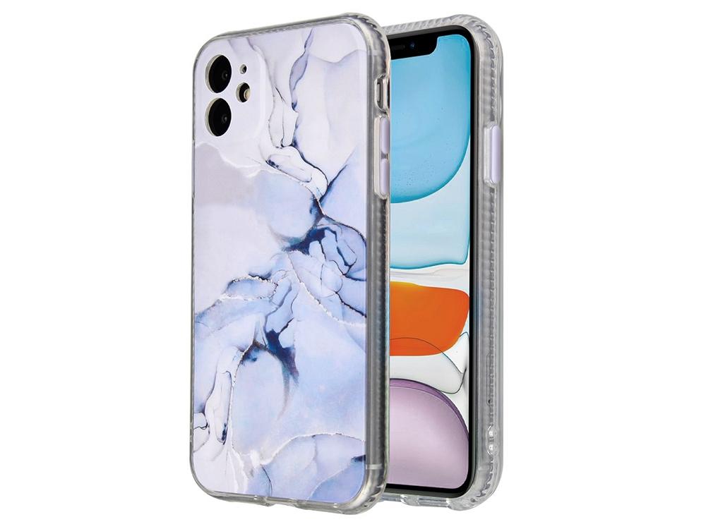 Хибриден калъф Marble за iPhone 11, Лилав