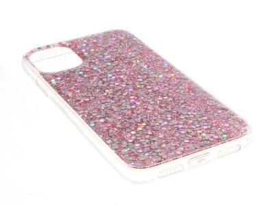 Силиконов калъф Flash Powder за iPhone 11, Розов-Златист