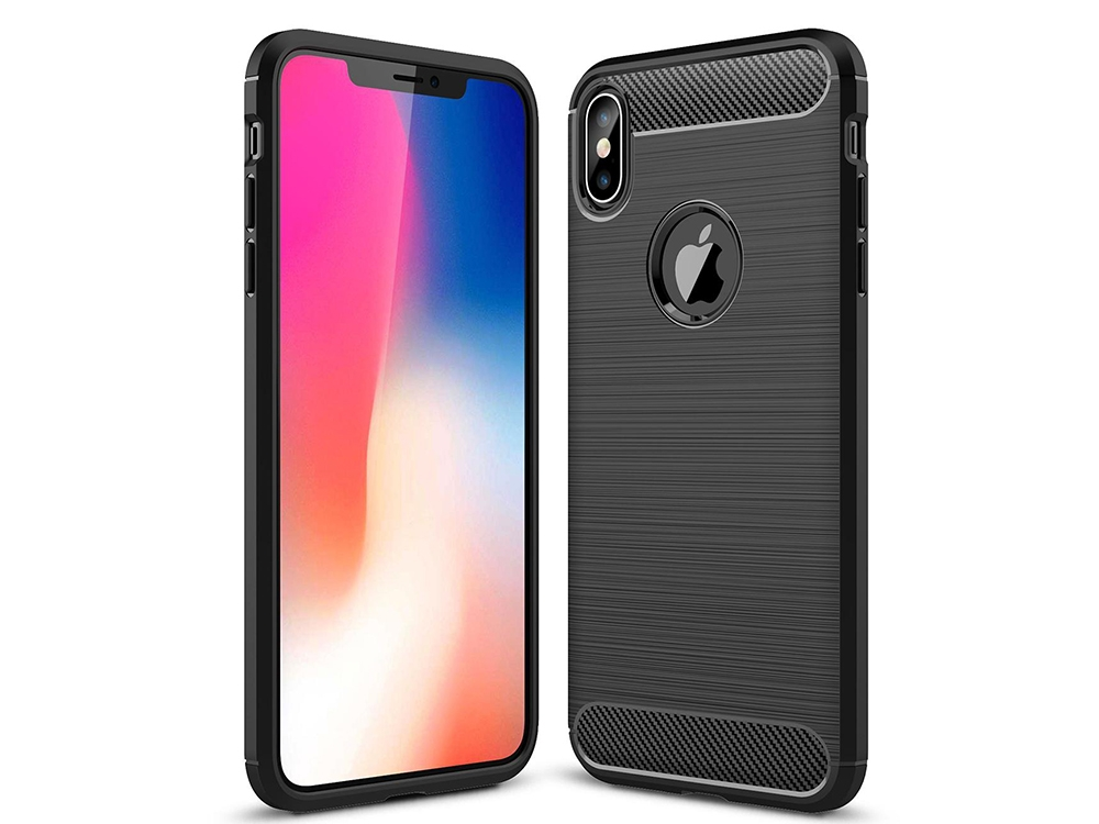 Силиконов Калъф Carbon Fibre Brushed за iPhone XS Max 6.5 inch (hole), Черен