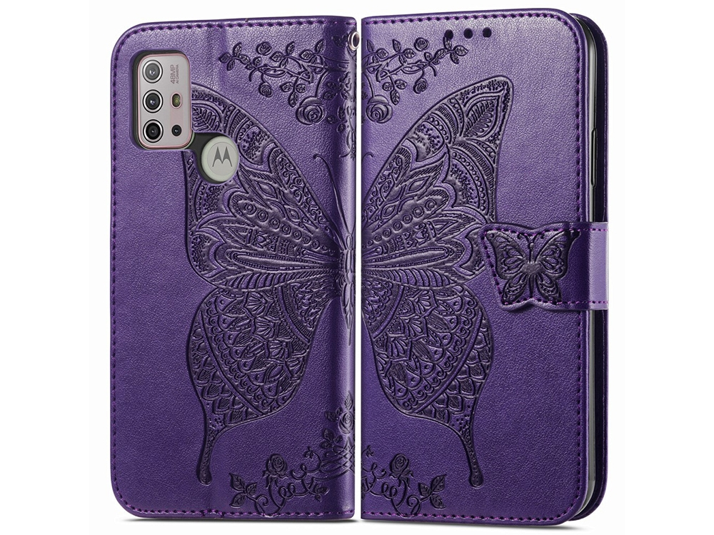 Калъф Тефтер Leather за Motorola Moto G30, Лилав с пеперуда