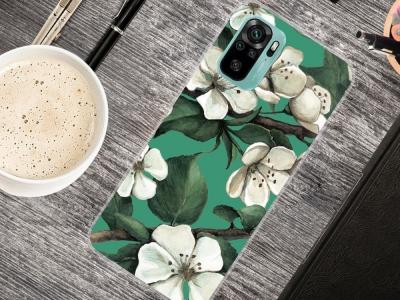 Силиконов калъф за Xiaomi Redmi Note 10 4G, Бели цветя