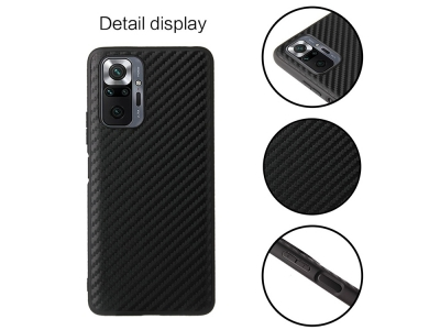 Калъф Гръб Carbon Fiber Coated за Xiaomi Redmi Note 10 Pro, Черен
