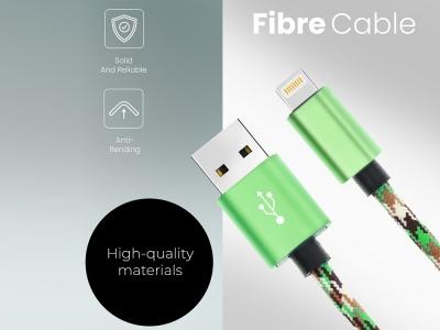 USB Кабел Iphone Lightning 8-pin Nylon C246 2m, Зелен