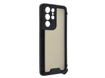 Удароустойчив калъф Shield Carbon за Samsung Galaxy S21 Ultra, Черен