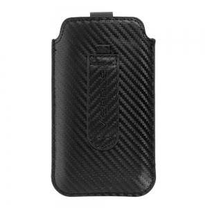 Универсален вертикален калъф, тип джоб Vennus Carbon, 166 х 93 мм, Черен