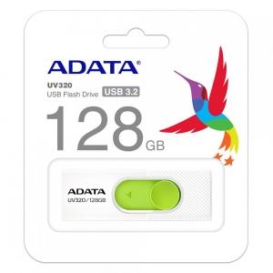 USB Флаш памет ADATA, UV320, 128GB, USB 3.2, Бял