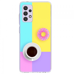 Силиконов калъф Color за Samsung Galaxy A72, Кафе и поничка